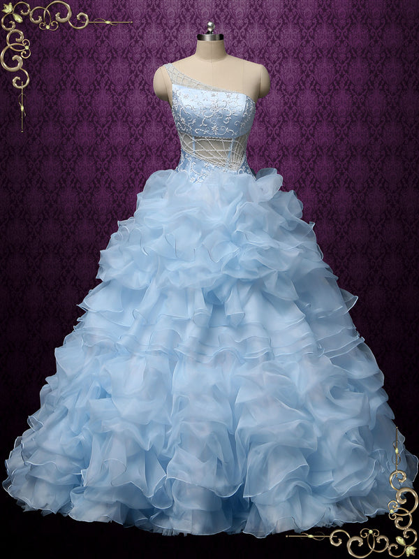 Blue One Shoulder Ruffles Ball Gown Wedding Dress | COCO