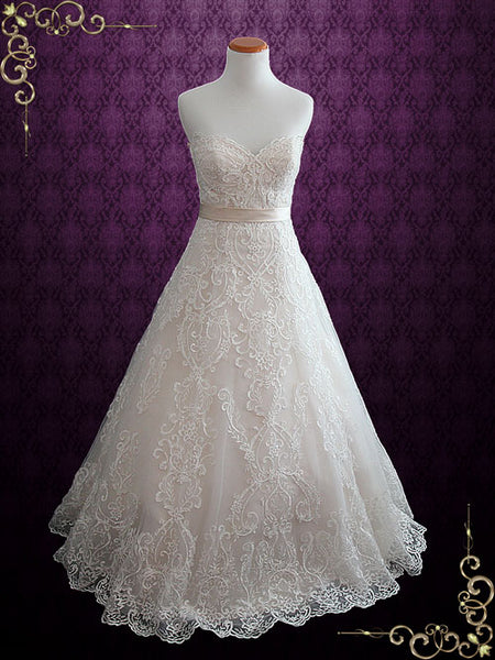 Elegant Lace Strapless A-line Wedding Dress with Sweetheart Neckline | Dahlia