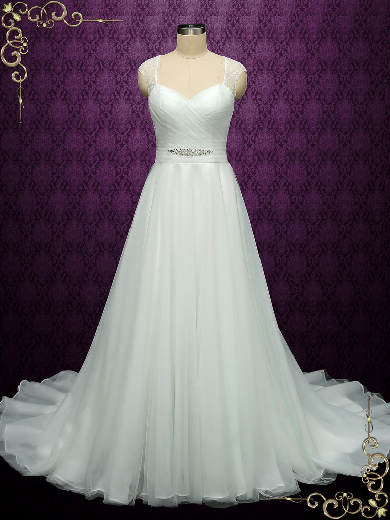 Light Green A-line Wedding Dress with Cap Sleeves SHA
