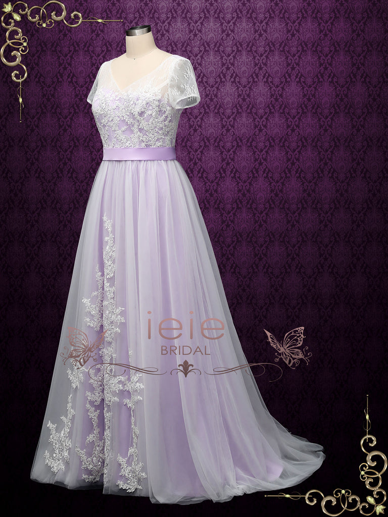 Bohemian Purple Lace Wedding Dress with Short Sleeves HAYLIE
