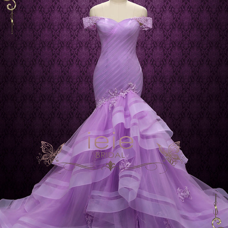 Purple Off Shoulder Mermaid Wedding Dress | Lilac