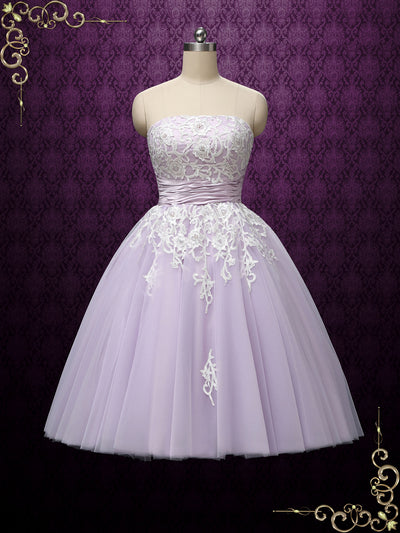 Lilac Purple Strapless Ballerina Style Tea Length Wedding Dress | KELSEY
