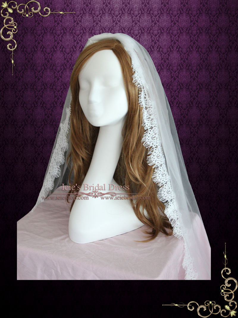 Soft Fingertip Wedding Veil with Eyelash Lace Edge VG1058