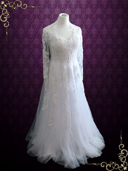 Vintage Style Lace Wedding Dress With Long Sleeves | Korina