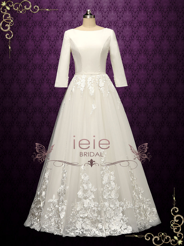 Long Sleeves Wedding Dress with Lace Tulle Skirt SUMMER
