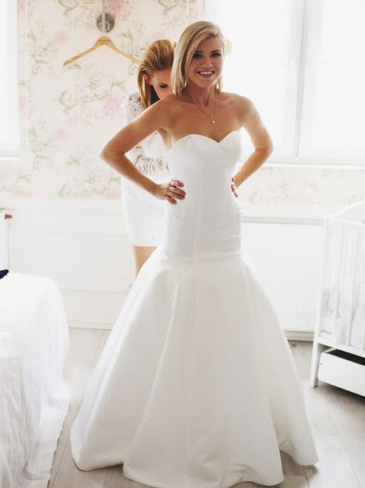 c9ffb705557c Fit and Flare Satin Wedding Dress With Sweetheart Neckline ...