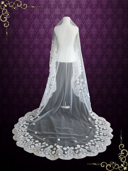 Cathedral Length Mantilla Lace Veil with Flowers and Pearl beadings | VG1031