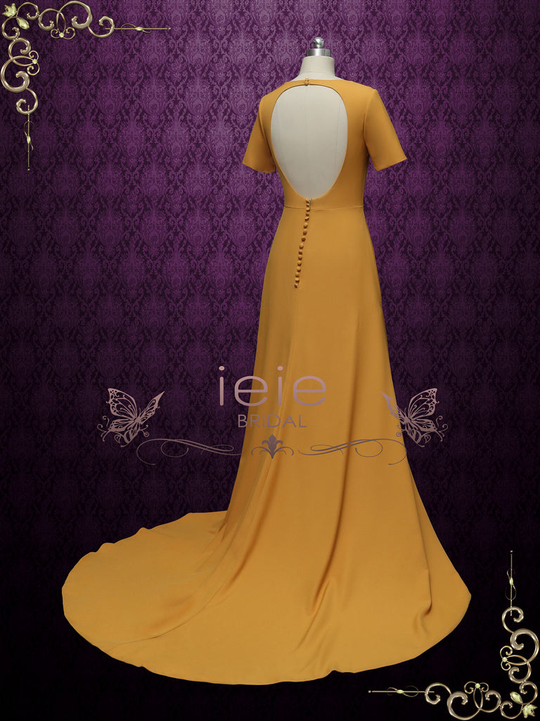 Marigold Yellow Wedding Dress with Slit DESERTE