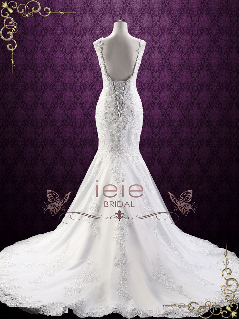 Mermaid Lace Wedding Dress With Open Corset Back Portia: Lace Mermaid Wedding Dresses With Corset At Reisefeber.org