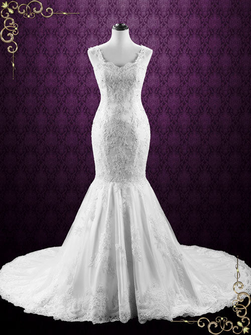 Mermaid Backless Lace Wedding Dress with Open Corset Back | Portia ...