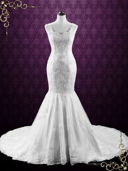 Mermaid Backless Lace Wedding Dress with Open Corset Back | Portia