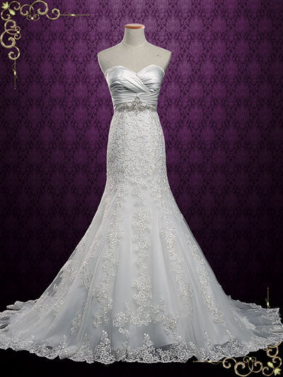Strapless Lace Mermaid Wedding Dress with Sweetheart Neckline | Lori