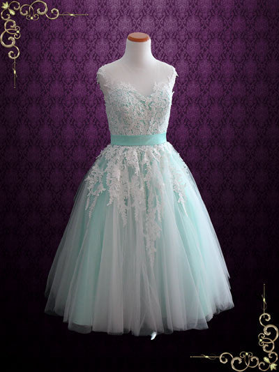 Mint Green Retro Lace Tea Length Prom Formal Dress | Rosalie