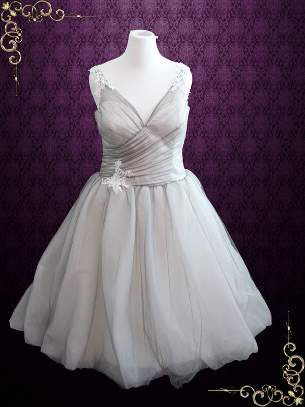 Plus Size Misty Gray Tulle Overlay Ivory Lining A-line Wedding Dress ...