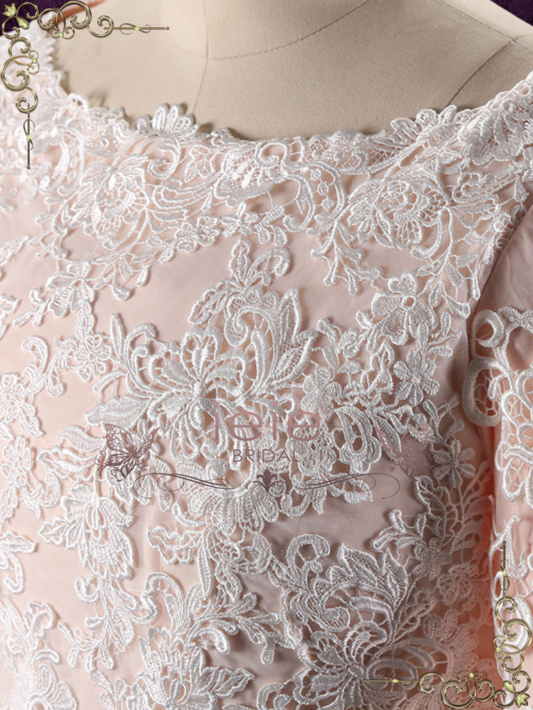 Blush Long Sleeves Lace Wedding Dress with Drop Waist | Genelle