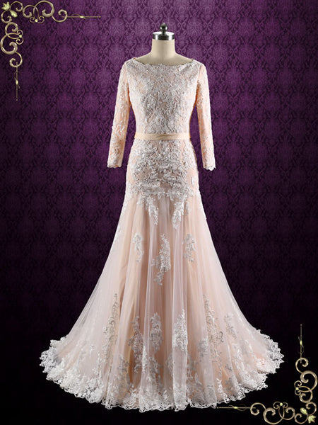 blush long sleeves lace wedding dress with drop waist