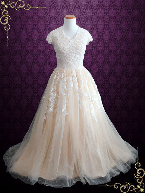 Modest Champagne Lace Ball Gown Wedding Dress With Cap Sleeves