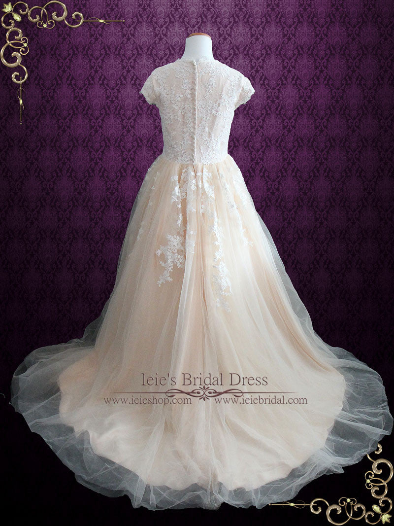 Modest Champagne Lace Ball Gown Wedding Dress with Cap Sleeves ...