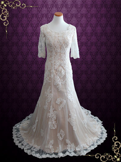 Modest Fit and Flare Lace Wedding Dress | Brooke