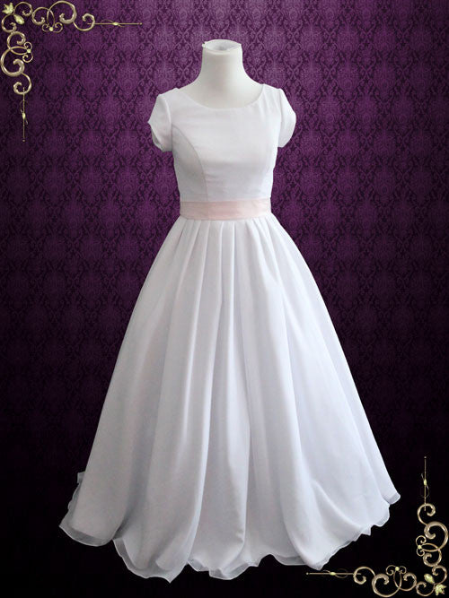 Simple Elegant Modest Chiffon Ball Gown Wedding Dress With Sleeves | Karen
