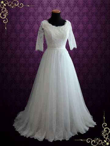 modest princess style french lace wedding dress with half sleeves and tulle skirt hallie