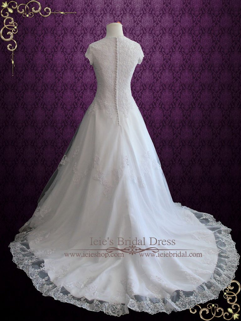 Modest Lace Wedding Dress With Short Sleeves | Adalia