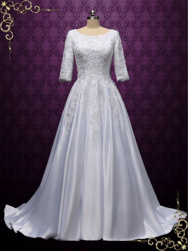 Modest Lace Wedding Dress with Half Sleeves | AMBROSE