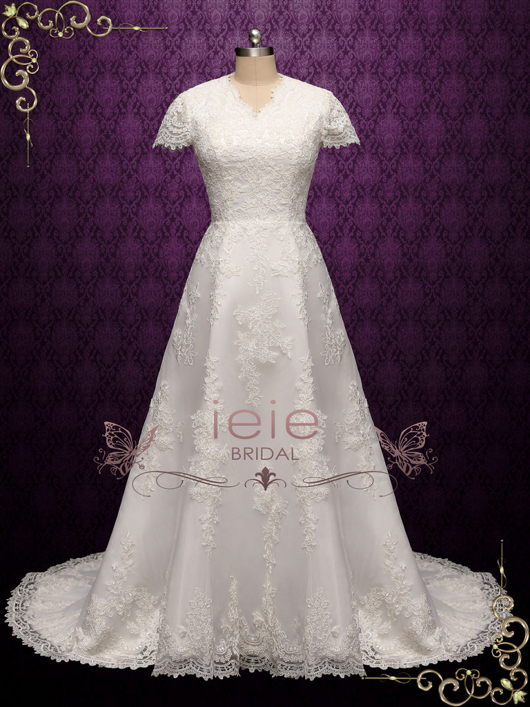Modest Lace A-line Wedding Dress with Short Sleeves | SALLINA
