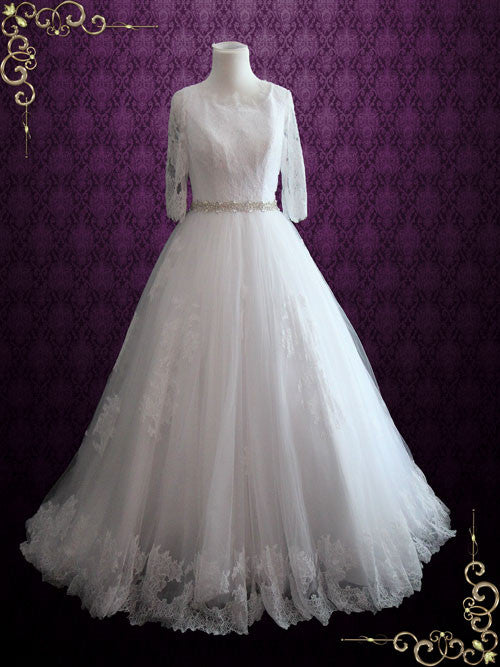 Modest Princess Lace Ball Gown Wedding Dress | Veria
