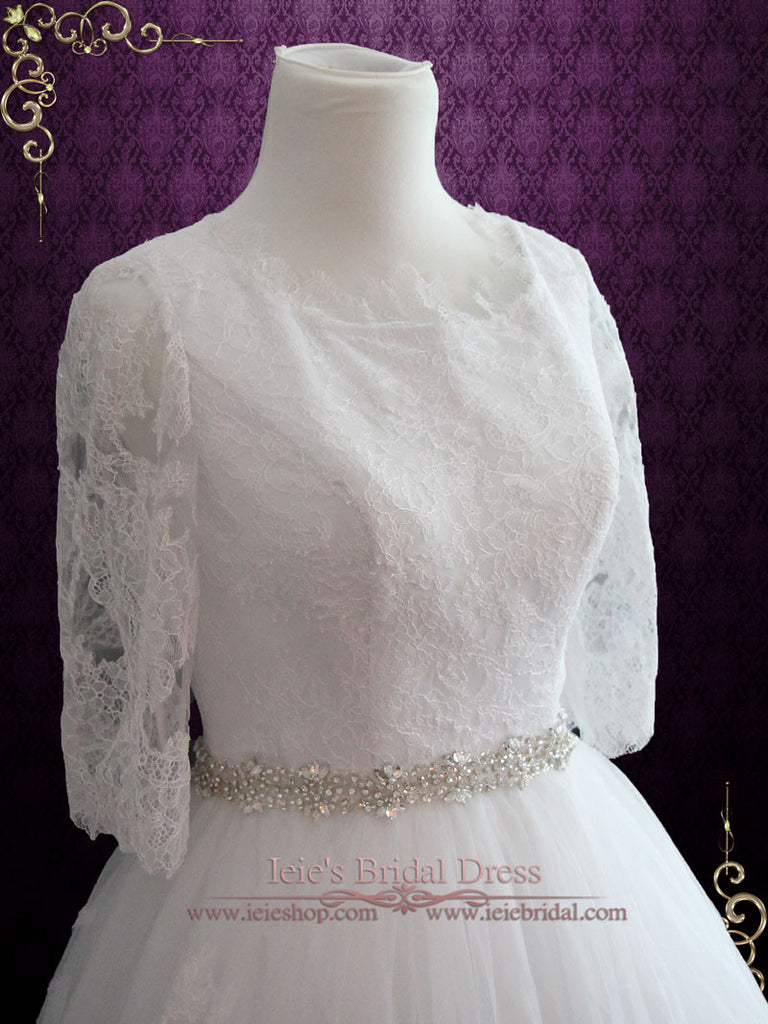 Size 6 Ready to Ship Modest Lace Ball Gown Wedding Dress | Veria