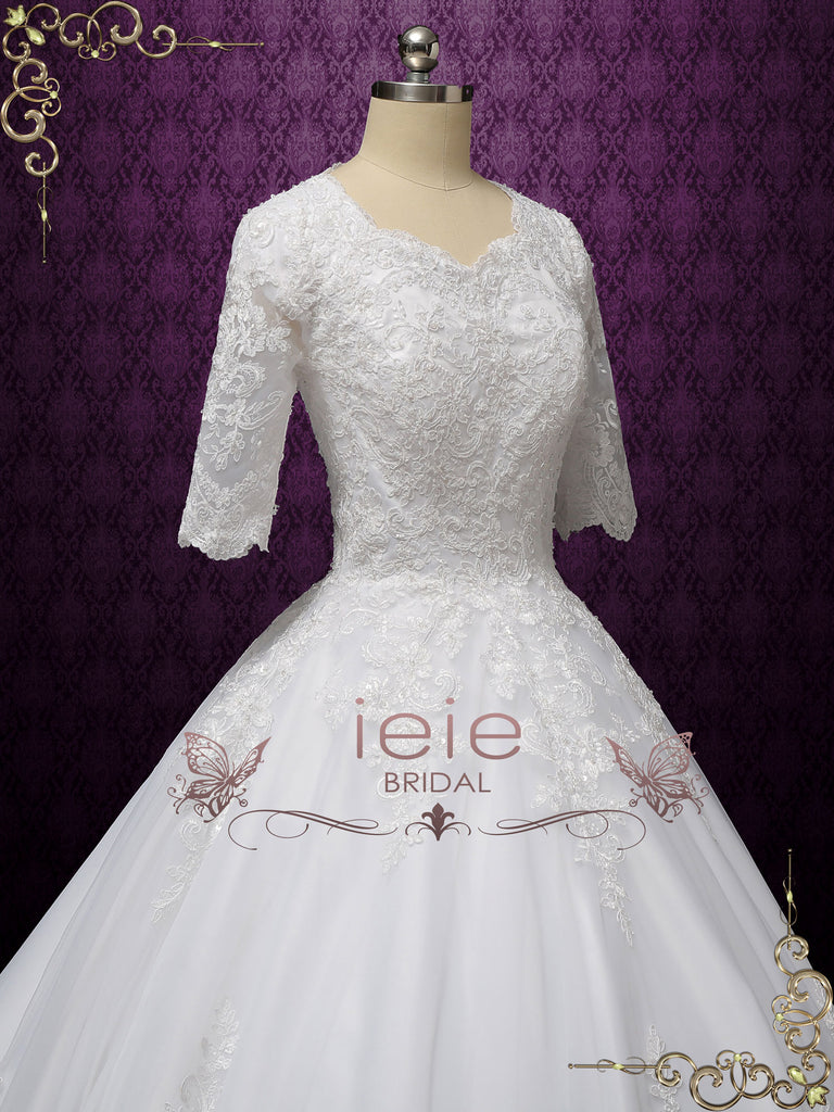 Modest Lace Ball Gown Wedding Dress with Sleeves CHESTER