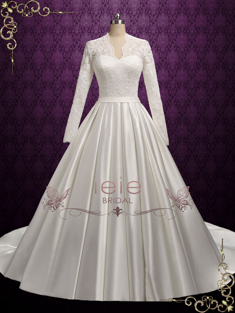 Classic Lace Ball Gown Wedding Dress with Long Lace Sleeves