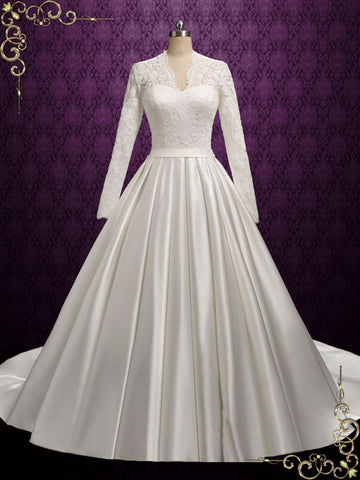 Classic Lace Ball Gown Wedding Dress with Long Lace Sleeves | Katharine