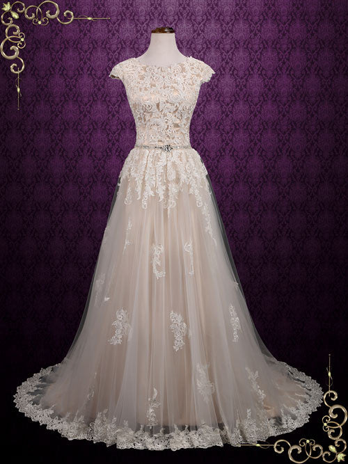 Modest Lace Champagne Short Sleeves Wedding Dress | Shawna