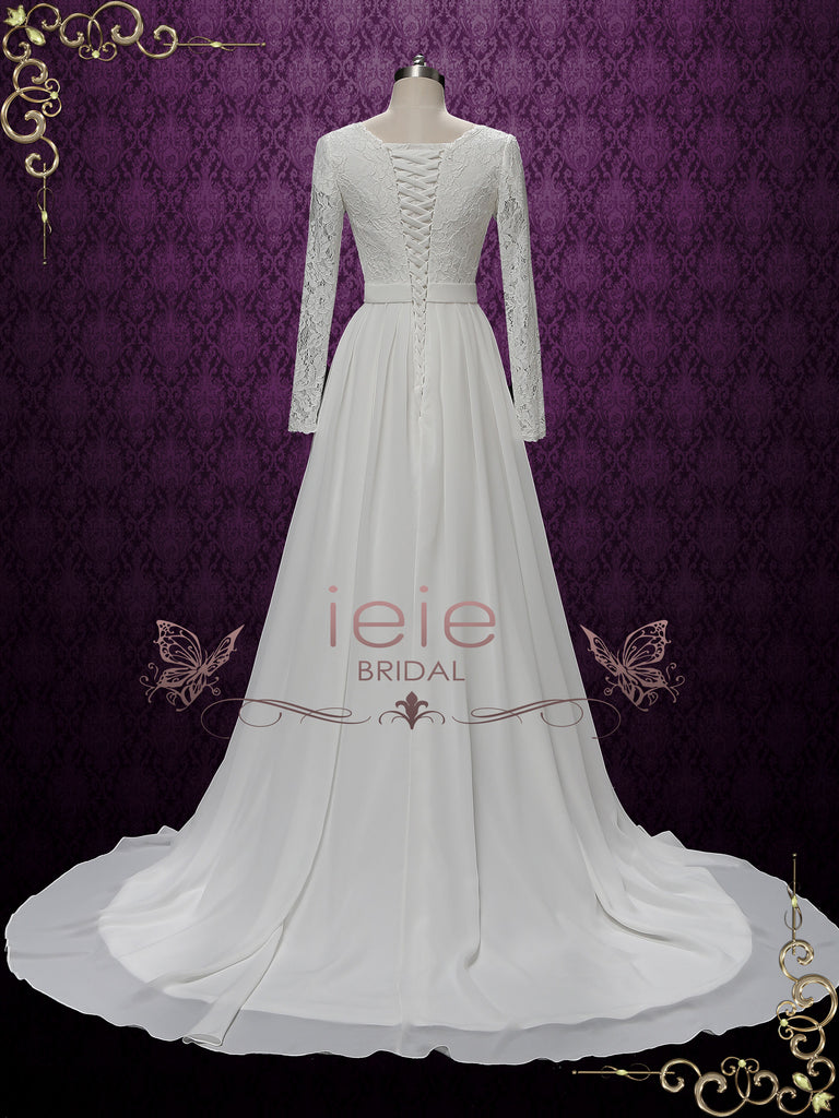 Modest Long Sleeves Chiffon Lace Wedding Dress | ALURA