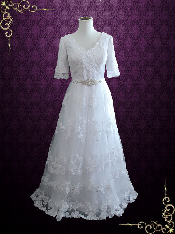 V Neck Lace A-line Wedding Dress with Short Sleeves | Alicia