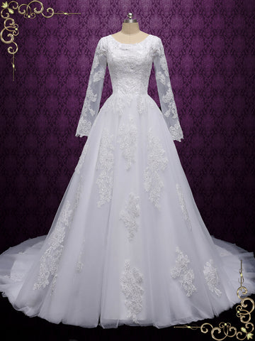 Modest Long Sleeves Lace Ball Gown Wedding Dress | JUDELYN