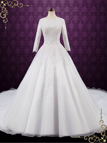 Modest wedding dresses ieie bridal modest lace ball gown wedding dress destiny junglespirit Image collections