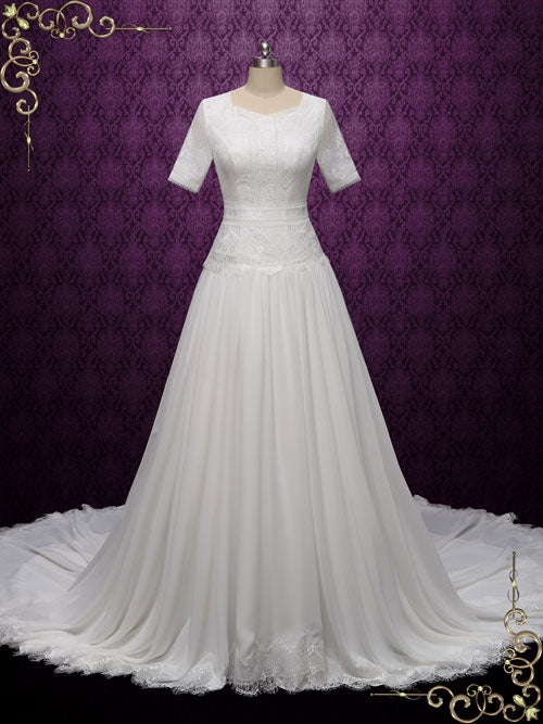 Modest Lace Wedding dress with Short Sleeves