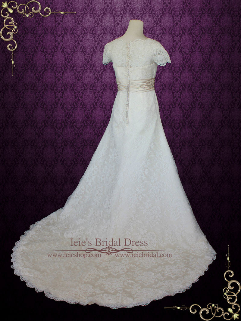 Modest lace wedding dress with short sleeves and scallop v for Modest lace wedding dresses