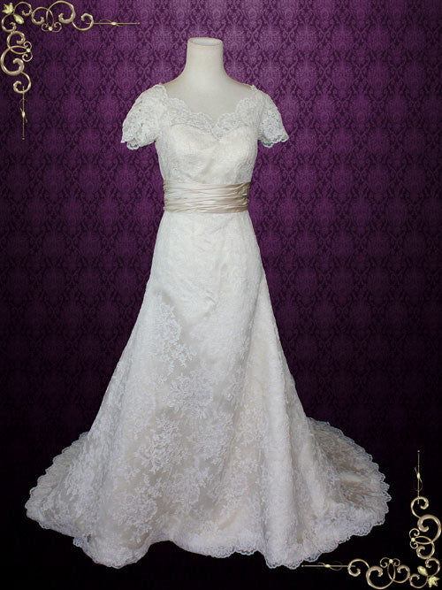 Modest Lace Wedding Dress with Short Sleeves and Scallop V Neck