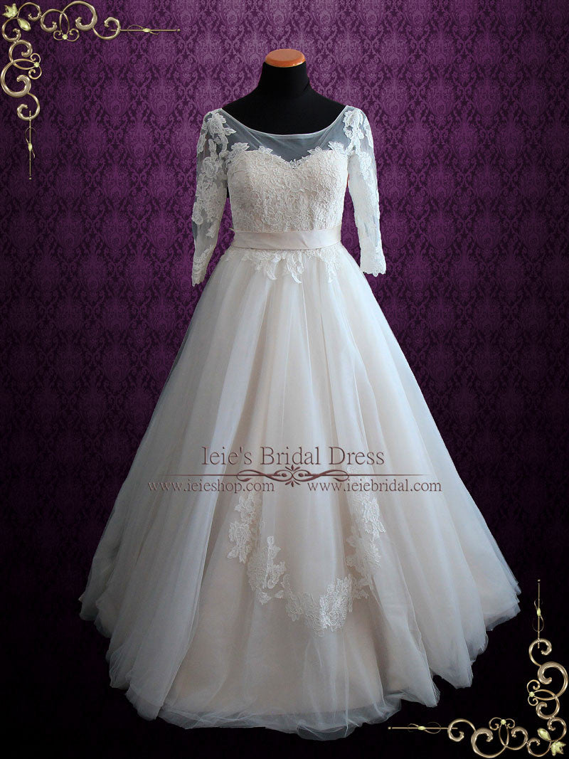 Illusion Lace Princess Ball Gown Wedding Dress with Sleeves ...