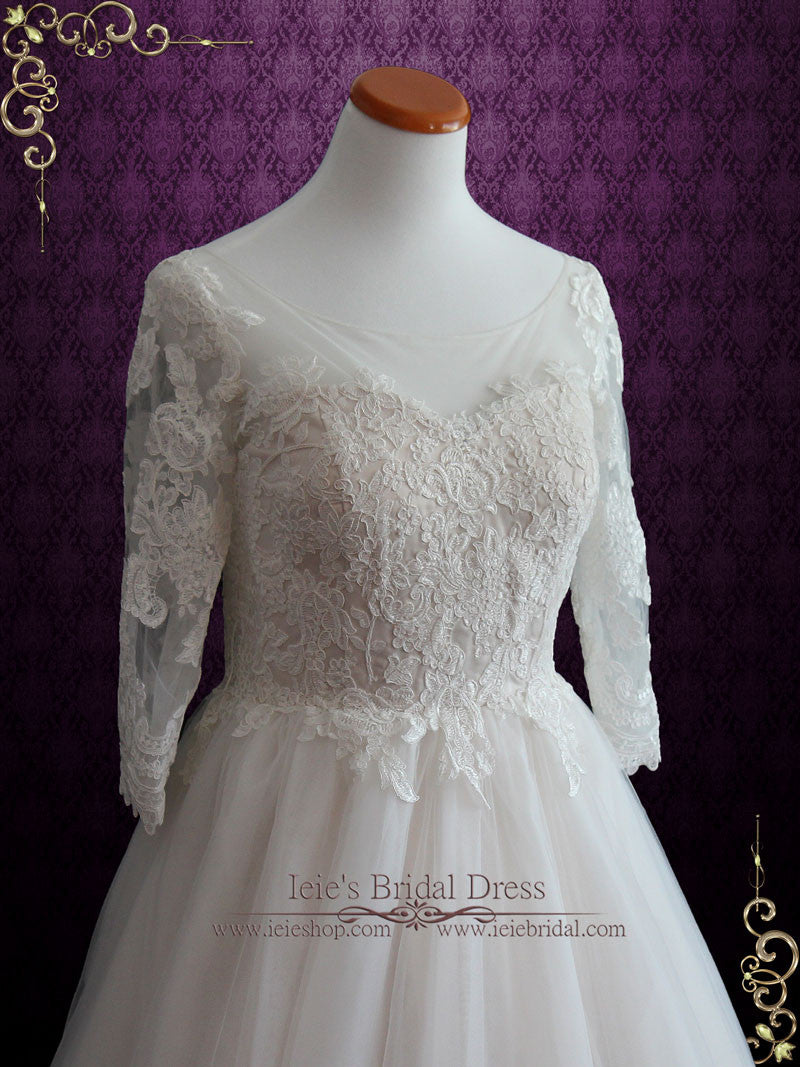 Illusion Lace Princess Ball Gown Wedding Dress With Sleeves