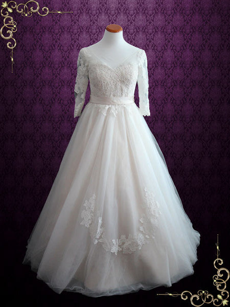 Illusion Lace Princess Ball Gown Wedding Dress with Sleeves | Charlotte