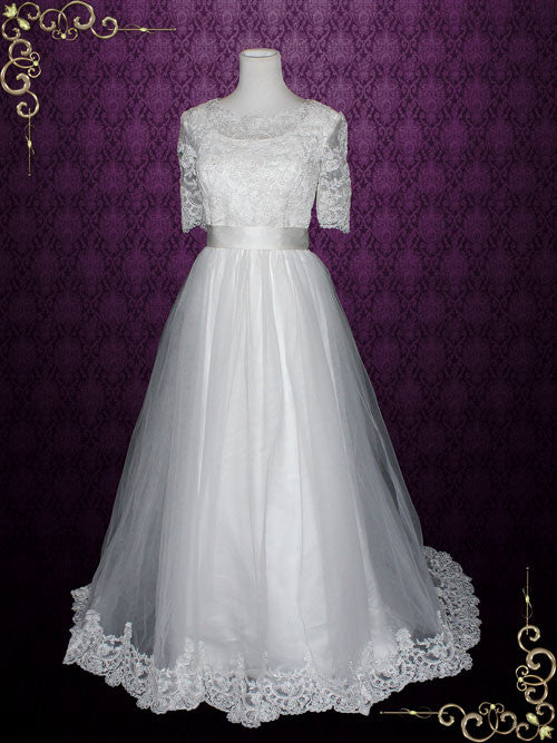 Vintage Style Modest Princess Lace Tulle Wedding Dress with Sleeves | Emery