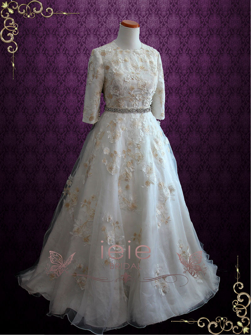 Modest lace wedding dress with sleeves marcie ieie bridal for Modest lace wedding dresses