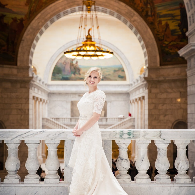 Modest Lace Champagne Wedding Dress with Half Sleeves and Jewel Neckline