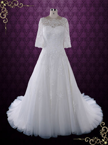 Modest Lace Wedding Dress with Half Sleeves and Illusion Neckline | Angel