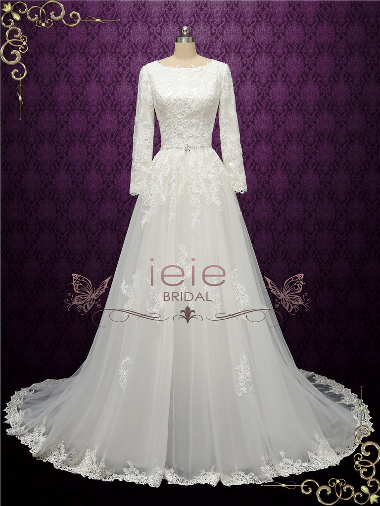 Elegant Modest Wedding Dress with Long Sleeves | ARLEEN
