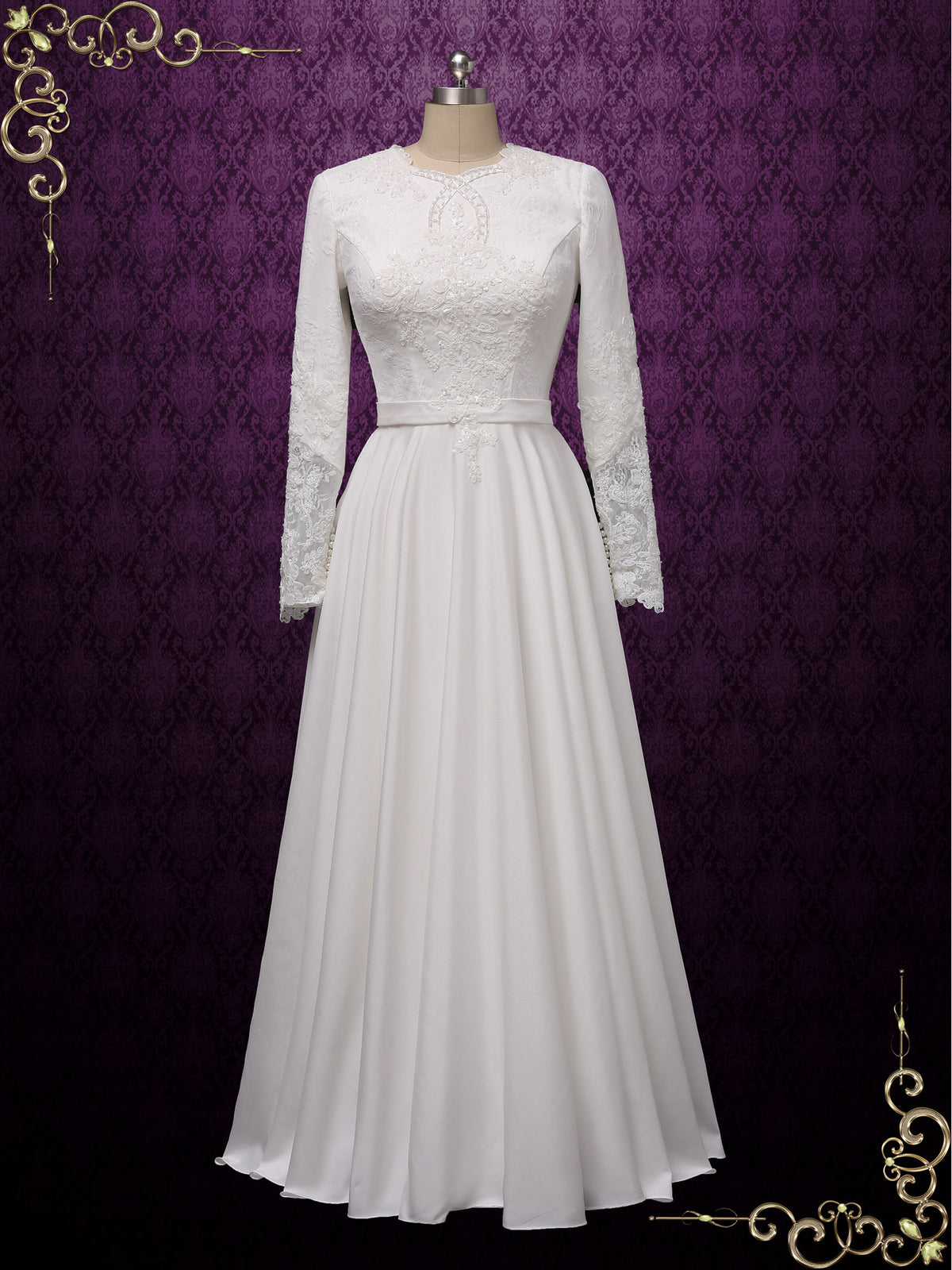 Modest Lace Wedding Dress with Sleeves | CAMBRIDGE